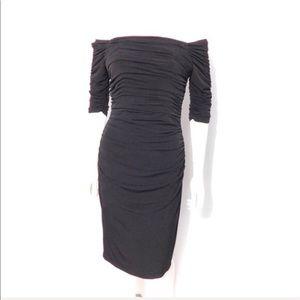Laundry Shelli Segal black off the shoulder dress